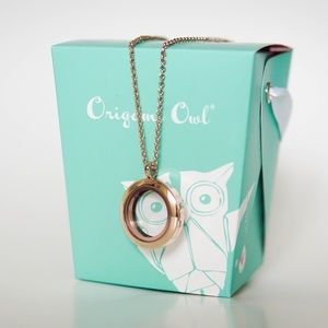 Origami owl medium rose gold locket & long chain